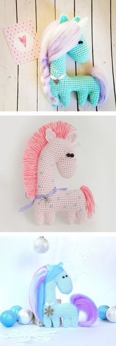 Amigurumi crochet horse pattern - Amigurumi Today These fancy horses are crocheted in uncommon way - as one part. You need to sew only ears. The height of finished crochet horse is approximately 14 cm. Crochet Gratis, Crochet Diy, Crochet Patterns Amigurumi, Crochet For Kids, Crochet Dolls, Knitting Patterns, Amigurumi Tutorial, Knitting Toys, Crochet Horse