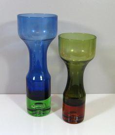 Aseda Glasbruk Art Glass Bo Borgstrom Svensk Bulb Vases PAIR 1960s Swedish