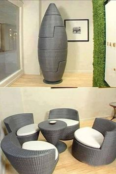 This Set Of Chairs And Small Table Are Curved And Smooth In Their Design.  The Way They Fit Together Into A Small Space Saving Egg Design Gives It A  Soft, ...