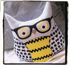 Hipster Owl with Glasses - Yellow - Space Invaders - Retro. $40.00, via Etsy.