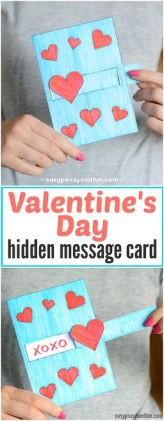 Hidden Message Valentine's Day Card Idea for Kids. Super fun paper craft for kids to make for Valentine's day.