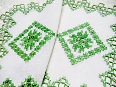 Vintage Linen Doilies Hardanger Embroidery by VintageLinens, $42.00
