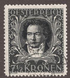 "Austria 1922 semi-postal 7 1/2k black ""Beethoven"""