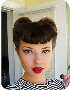 Vintage Hairstyles Tutorial Victory rolls and bangs; the bangs here are a little shorter than I think I'm comfortable with, but I LOVE love love Casey's look, here. Can't believe this is basically what she looks like every day! Vintage Hairstyles Tutorial, Retro Hairstyles, Elegant Hairstyles, Hairstyle Tutorials, Wedding Hairstyles, Vintage Updo Tutorial, Rockabilly Hair Tutorials, Rockabilly Hairstyle, Latest Hairstyles