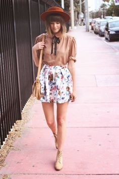 Fashion schoolgirl chic shirt, hat, and chic floral skirt