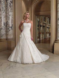 A-line Strapless Taffeta Wedding Dresses