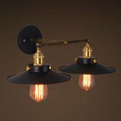 Industrial 2-Light Black Umbrella Industrial Lighting Vintage