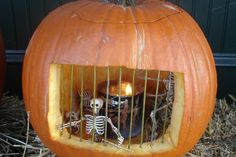DIY Skeleton Jail Carved Pumpkin from Kitchen Inferno. For more...