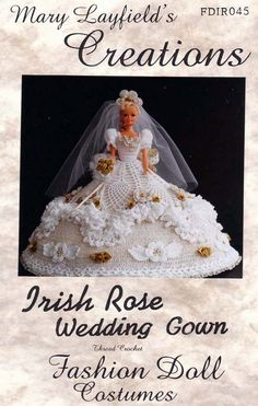 barbie+crochet+ball+gown+patterns+free | Crochet Barbie Doll Wedding Dress Mary Layfield's Creation Pattern ...