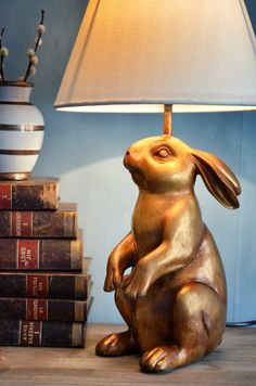 Gold rabbit lamp <3