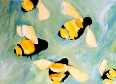 Bees can speak of productivity, purpose, industry, or negatively - if stung by a bee it can speak of words being spoken against the person being stung.   original oil painting by clairespaintings