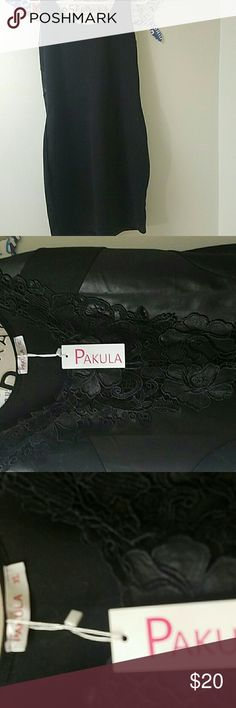 Pakulsblack on black with lace inset in front. NWT NWT Paula black on black with lace inset in front. LOVE IT, but it's too big. Excellent condition Pikula Dresses Midi