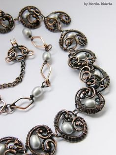 Ailla wire wrapped necklace with pearls handmade by MeaJewelry