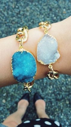 Gold dipped druzy stone bracelet - on sale for $10 - tonight only! http://rstyle.me/n/jjffwnyg6