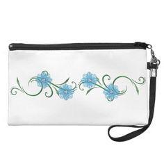 "Blue ""Floral Swirls"" Clutch Purse"