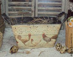 "Ушатик ""Птичий дворик"" - куры,петухи,птицы,деревенский стиль,кантри,банка для хранения"