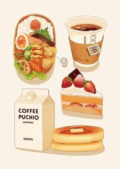 "Image tagged ""food, art, and bento"" - Anime food - Bento Ideas Cute Food Drawings, Kawaii Drawings, Japan Design, Arte 8 Bits, Food Sketch, Watercolor Food, Japon Illustration, Food Painting, Vintage Diy"