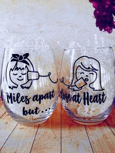 Long Distance Friendship Stemless Wine Glass Set, Best Friends Wine Glass, Long Distance Friends Gift, Miles Apart But Close At Heart - Best Do It Yourself (DIY) Ideas 2019 Wine Glass Candle Holder, Wine Glass Holder, Wine Glass Set, Wine Glass Crafts, Diy Wine Glasses, Painted Wine Glasses, Custom Wine Glasses, Diy Disney Wine Glasses, Birthday Wine Glasses