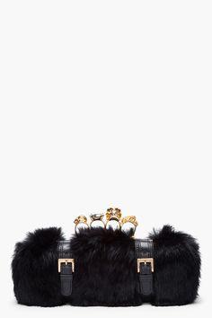 236553cac201 Alexander McQueen    Black Rabbit Fur Knuckle Box Clutch. Fendi Spy Bag