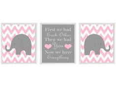 Elephant Nursery Art Print Set   Chevron Pink by RizzleandRugee... Not only are elephants my favorite animals but I want a pink and gray wedding!! This is perfect! -ashley