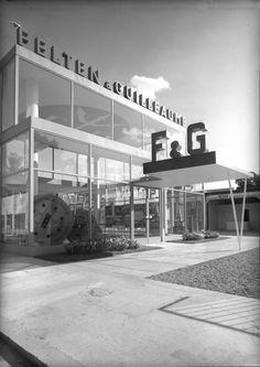 "Exhibition Pavilion ""Felten & Guilleaume"" in Vienna, Austria, by Oswald Haerdtl Contemporary Architecture, Modern Contemporary, Pavilion, Vienna, Marina Bay Sands, Building, Travel, Trade Fair, Austria"