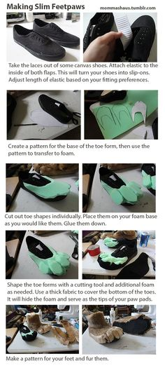 Tuto sympa pour réaliser des papattes poilues et griffues à partir de de chaussures/tennis basics. Super pour le cosplay.