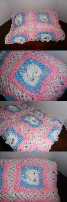 Cuddly Fleece Throw//Blanket  New Warm Vintage Rose in Aqua Soft Pinks Cream