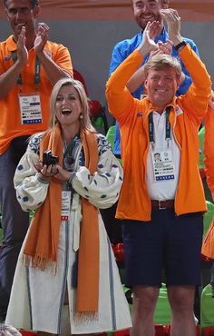 King Willem-Alexander and Queen Maxima of the Netherlands, their daughters Crown Princesss Catharina-Amalia, Princess Ariane and Princess Alexia attend the Rio 2016 Olympic Games Artistic Gymnastics events at the Rio Olympic Arena on August 15, 2016 in Barra da Tijuca, Rio de Janeiro, Brazil. King Willem-Alexander and Queen Maxima celebrate Netherlands' Sanne Wevers on winning the women's balance beam event final of the Artistic Gymnastics.