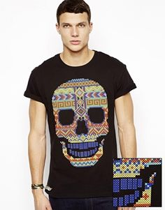 ASOS T-Shirt With Multi Colour Skull Print And Roll Sleeve size M
