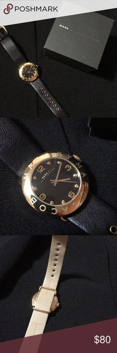 Marc Jacobs Leather Gold and Black Watch Only used once  Have too many watches looking to downsize No scratches no stains or rips  Practically new  Needs battery  Comes with box - no cushion Marc Jacobs Accessories Watches