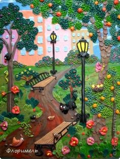 Картина панно рисунок Аппликация из пластилина + обратная Лепка Парк и   Пластилин фото 1