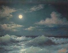 "272- 11""x 14"" GALLERY WRAP CANVAS ART PRINT SEASCAPE Stormy Sea Full Moon  Night #Realism"