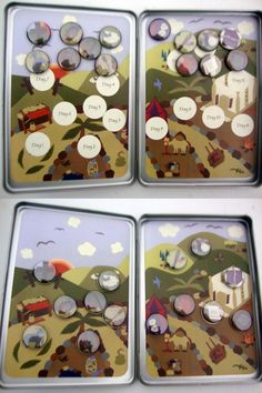 Easter countdown Magnetic Complete-A-Scene Resurrection Tin. Inspiration for a homemade advent calendar or Jesse tree!