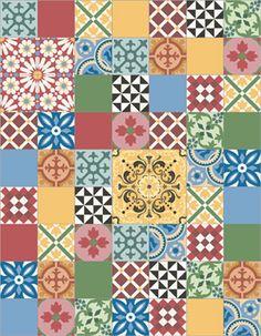 Patchwork tendance couleurs variées - Mosaico