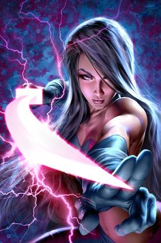 Looks like Revanche (Psylocke's dead clone). Stance, poise and weapon are classic for fantasy sword-wielding bitches.