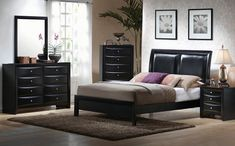 Shop Coaster Furniture Briana Black Master Bedroom Set with great price, The Classy Home Furniture has the best selection of Master Bedrooms to choose from Black Master Bedroom, Black Bedroom Sets, 5 Piece Bedroom Set, Queen Bedroom, Black Bedrooms, Bedroom Furniture, Bedroom Decor, Bedroom Ideas, Furniture Nyc
