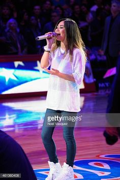 jessica sanchez 2015 | News Photo : Jessica Sanchez performs the national anthem at a...