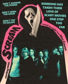 pink and cyan SCREAM horror movie poster art Halloween Movies, Scary Movies, Good Movies, Watch Movies, Horror Movie Posters, Horror Movies, Ghostface Scream, Scream Movie, Slasher Movies