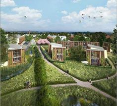 The United Kingdom's Hanham Hall Development is the largest eco-village aspiration to date. Designed by HTA and funded by Barratt Developments and the Homes & Communities Agency, there are a rumored zero carbon homes in the overall housing scheme. Co Housing Community, New Urbanism, Backyard Layout, Paint Your House, Urban Farming, Urban Planning, Green Building, Landscape Architecture, Sustainability