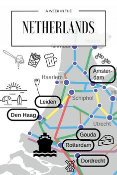 A week in the Netherlands - free printable pdf itinerary, train road trip, Rotterdam, Dordrecht, Gouda, Den Haag, Leiden, Lisse, Amsterdam. Tulips, cycling, canals, windmills, food!