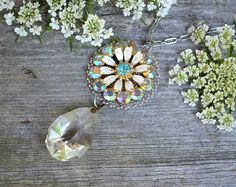 Repurposed crystal necklace  Floral Ice by crazyfoxstudio on Etsy