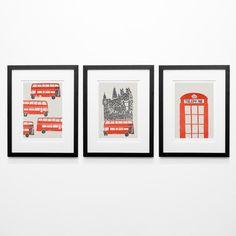 London Set of 3 Art Prints, London Wedding Gift, British Prints, Room Decor, Red, London Skyline, Print City Set Travel Art, Gallery Wall