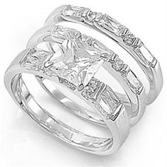 Sterling Silver Square Princess Cut VVS1 Engagement Bridal Ring Set by JewelryHub on Opensky