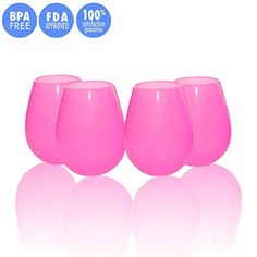 JYPC Unbreakable Silicone Stemless Wine Glass, 12 oz, Ros...