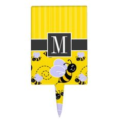 Shop Elegant Yellow & Black Bee Cake Topper created by Monogram_Baby. Black Bee, Yellow Black, Bee Cakes, Cake Picks, Baby Monogram, Baby Pillows, Baby Shirts, Baby Shower Cakes, Baby Bibs