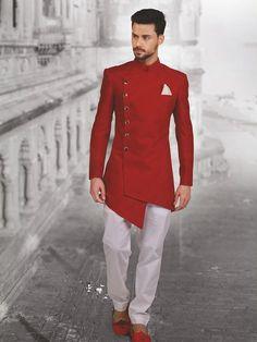 Shop plain red hue designer silk indo western online from India. Mens Indian Wear, Mens Ethnic Wear, Indian Groom Wear, Indian Men Fashion, Africa Fashion, Mens Fashion Suits, Kurta Men, Mens Sherwani, Wedding Sherwani