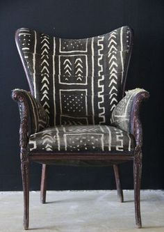 AfricaStyle: African Textiles Furniture = Shockingly Awesome mud cloth, wing chair, home decor, home fashion, innovation Home Interior, Interior Design, Interior Ideas, African Textiles, African Patterns, Take A Seat, Deco Design, Home And Deco, Sofa Chair