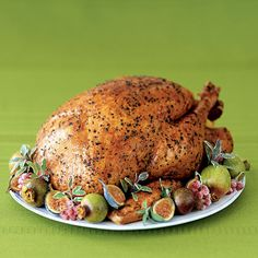 Oregano-Coriander-Rubbed Turkey | This delicious holiday turkey is rubbed with an oregano-coriander mixture and baked with garlic and lemon for moist, tender results.