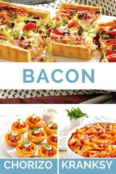 Easy entertainer recipes using Bacon, Chorizo and Kransky Sausage.