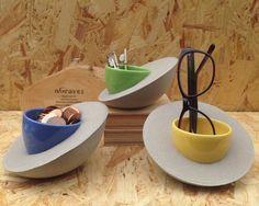 Concrete Bowl - Unique Home Decor - Succulent Planter - Concrete Pot - Concrete Candle Holder - Modern Home Decor with Upcycled Ceramic Bowl
